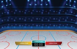 stade de hockey sur glace avec projecteurs vecteur