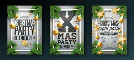 Illustration de flyer fête de Noël avec la typographie de vacances