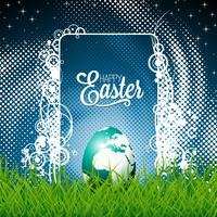 Illustration de Pâques avec globe-egg brillant
