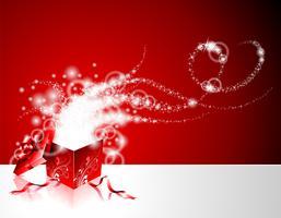 Illustration de Noël avec une boîte cadeau sur fond rouge. vecteur