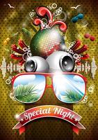 Vector Summer Beach Party Flyer Design avec boule disco et lunettes de soleil