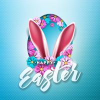 Joyeuses Pâques design de vacances avec fleur de printemps en silhouette d'oeuf vecteur
