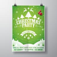 Conception de fête joyeux Noël de vecteur avec des éléments de typographie de vacances et des boules de verre sur fond de paysage d'hiver.