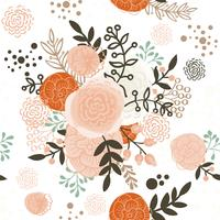Fleurs dessinées à la main de modèle sans couture vintage