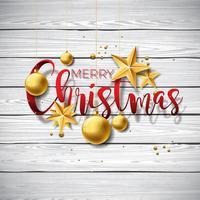 Joyeux Noël Illustration sur fond de bois vintage