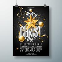 Joyeux Noël Party Flyer Illustration avec ornements d'or vecteur
