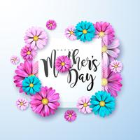 Carte de voeux bonne fête des mères avec des fleurs roses et bleues vecteur