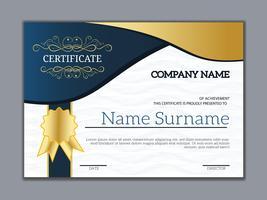 Modèle de certificat de réussite classique doré vintage