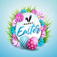 Illustration de joyeuses fêtes de Pâques avec un œuf peint vecteur