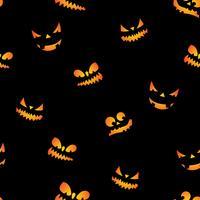 Illustration du modèle sans couture Halloween avec visages effrayants de citrouilles sur fond noir.