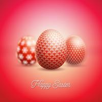 Illustration de joyeuses fêtes de Pâques avec un oeuf peint et une fleur vecteur