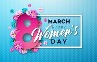 8 mars. Carte de voeux Floral Happy Womens Day. Illustration de la fête internationale vecteur