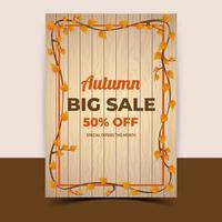 modèle de vente d'automne, bannière, affiche ou conception de flyer. vecteur