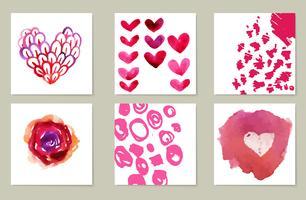 Collection dessinée à la main de 6 cartes de journalisation. Texture