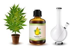 bong réaliste, feuille de cannabis, joint à fumer et huile vecteur