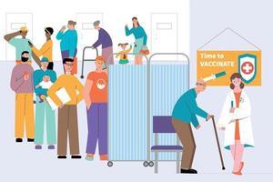 composition de la file d'attente du temps de vaccination vecteur