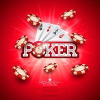 Illustration de casino avec carte de poker et jetons vecteur