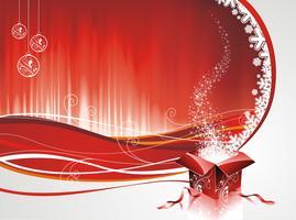 Vector design de Noël avec une boîte cadeau sur fond rouge.