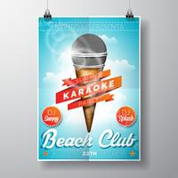 Crème glacée de vecteur et Illustration de Flyer de microphone avec ruban
