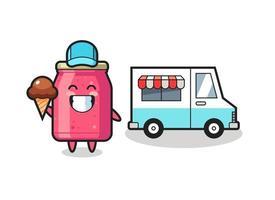 caricature de mascotte de confiture de fraises avec camion de crème glacée vecteur