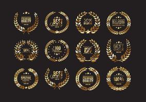Collection de couronnes de laurier de qualité supérieure vecteur