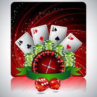 illustration de jeu avec des éléments de casino et ruban vecteur