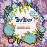 Carte de modèles de bannière de conception heure du thé