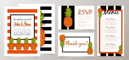 Faites gagner la date, carte d'invitation de mariage avec des ananas rétro vecteur