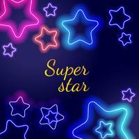 Étoiles néon rougeoyantes vecteur