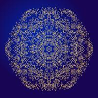 Mandala, amulette. Symbole d'or ésotérique sur fond bleu.