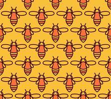 Modèle sans couture avec les abeilles orange dans le style Monoline. vecteur