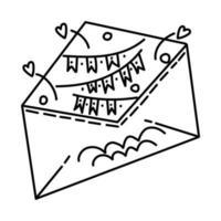 invitation de fête définie le vecteur d'icône. doodle dessiné à la main
