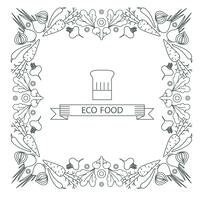 Concept d'aliments sains. Bordure de cadre vecteur