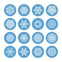 Ensemble d'hiver de flocons de neige vecteur