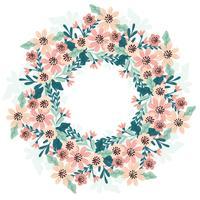Couronne florale dessinée à la main de vecteur