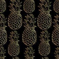 Modèle sans couture exotique avec des ananas de fruits tropicaux de silhouettes. vecteur