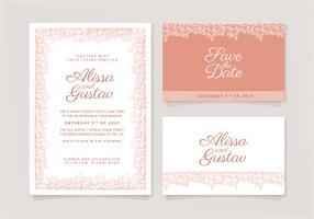 Invitation de mariage or rose vecteur