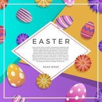 Fond de vecteur de Pâques plat coloré