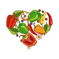 J'aime les poivrons mexicains vecteur