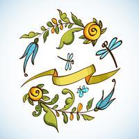 Floral Frame fleurs rétro de la couronne vecteur