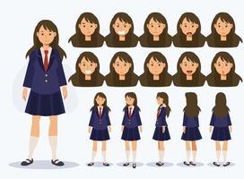 étudiante japonaise en uniforme avec diverses vues vecteur