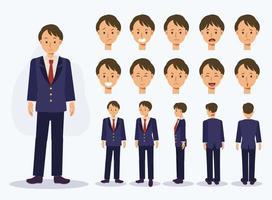 garçon étudiant japonais en uniforme avec diverses vues, style cartoon. vecteur
