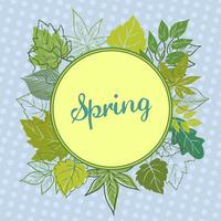 cadre de feuilles de printemps