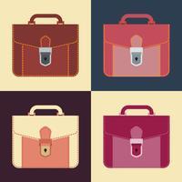 Icône porte-documents, portefeuille en cuir, design plat.