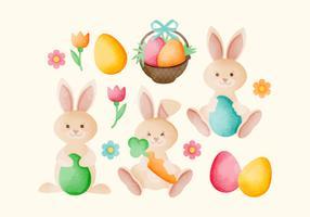 Lapins de Pâques dessinés à la main de vecteur