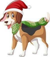 chien beagle portant un personnage de dessin animé de chapeau de noël vecteur