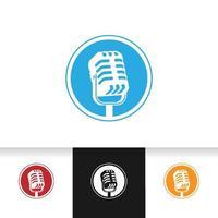 illustration vectorielle de micro microphone pour emblème de logo podcast ou karaoké vecteur