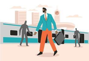 homme, dans, gare, gare, illustration, concept, vecteur