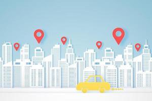 paysages urbains, bâtiment en papier, voiture jaune aller à destination, marqueurs de localisation vecteur