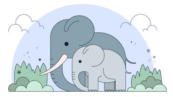 Vecteur famille éléphants